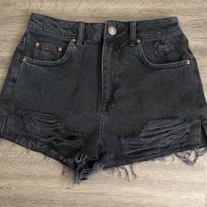 NWT Topshop Moto Mom Black Jean Denim Shorts